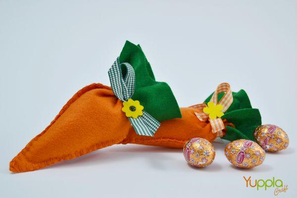 È tempo di #Pasqua e quale miglior modi di richiamare il Coniglio Pasquale se non con delle simpatiche carotine piene di #ovetti ? #ideeinfeltro #crafideas #yupplacraft #Easter