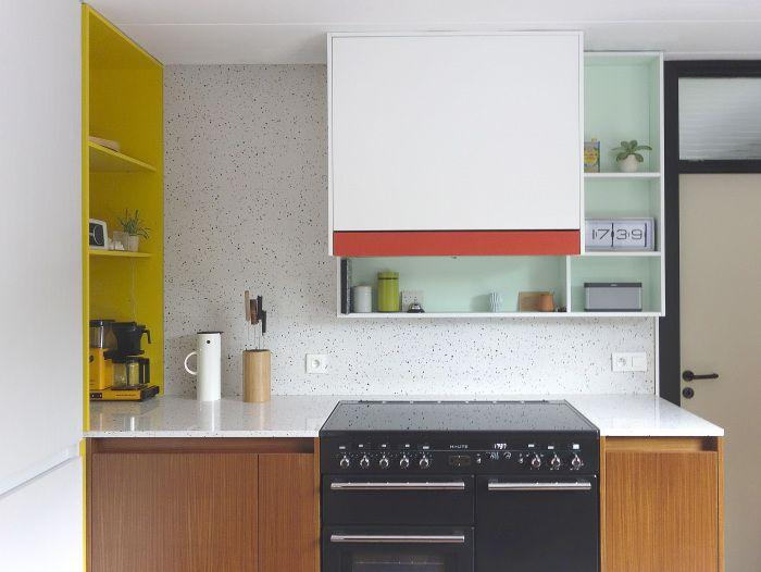Les agencements colorés et scénographiés de l'architecte designer Dries Otten || Projet Bloemland [CUTE COLORED SPECKS IN MARBLE]