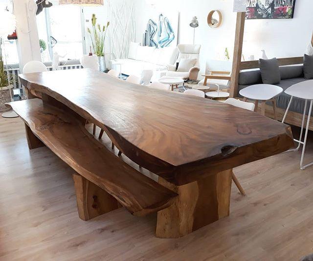 Grande Mesa De Comedor De 3 5 Metros De Madera Suar Con Banco De Suar 3 Metros Giant Suar Wood Table De 3 5 Meters Acco Dining Table Rustic Dining Table Table