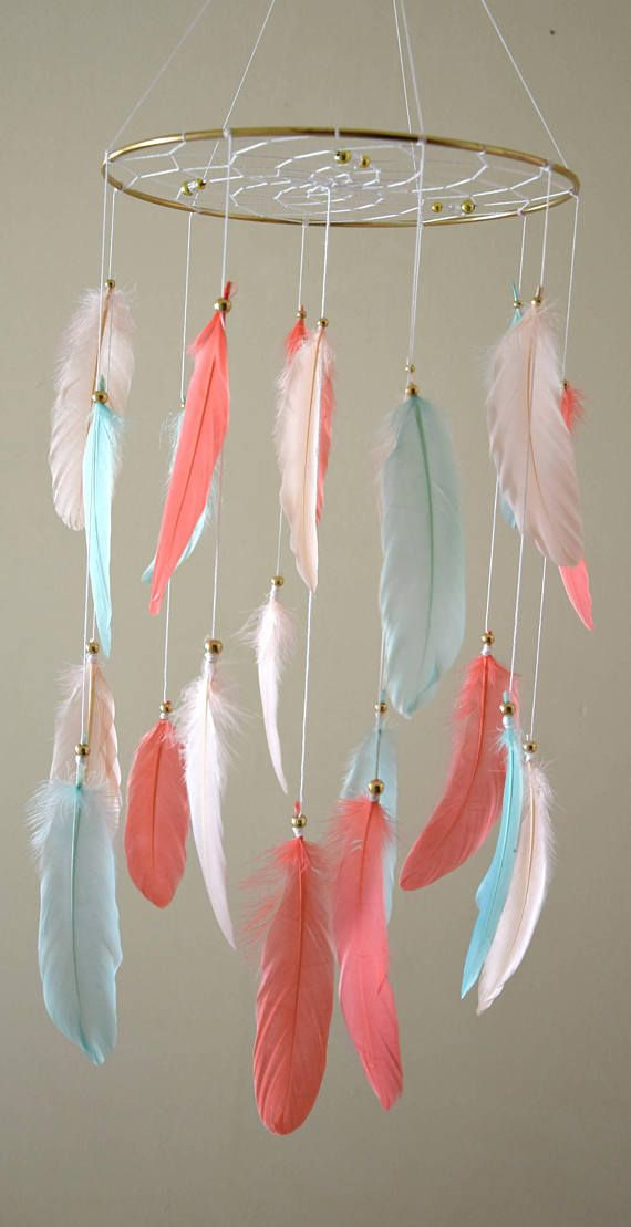 Baby Mobile Coral Mint Gold, Baby Nursery Mobile, Woodland Tribal Baby Shower, Gold Coral Mint Nursery Decor, Feather Dream Catcher Mobile