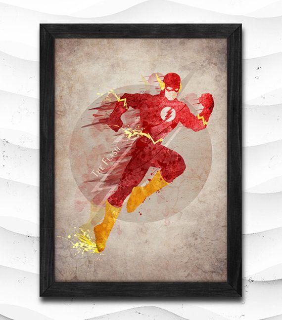 The Flash Watercolor Print Super Hero Poster Art Print Baby Room Illustrations Room Nursery Kids Room Gift Linen Poster