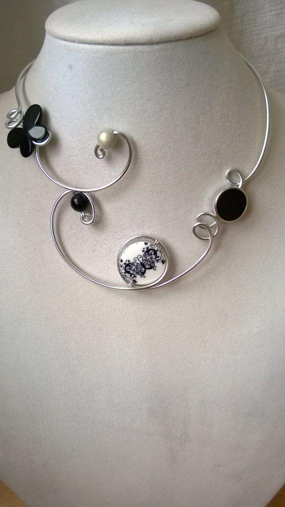 Black Butterfly jewelry Black necklace by LesBijouxLibellule