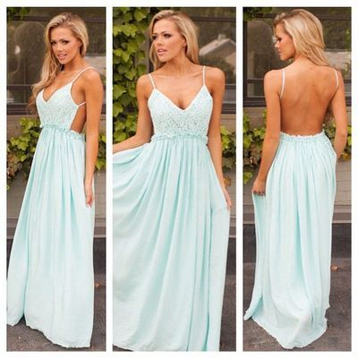 Charming backless simple cheap prom dresses with spaghetti straps ...