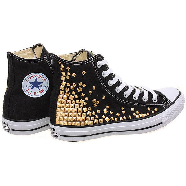Studded Converse, Converse High Top with Gold Pyramid studs by... (395 BRL) ❤ liked on Polyvore featuring shoes, sneakers, converse, sapatos, chaussures, studded high top sneakers, gold hi top sneakers, converse trainers, studded shoes and converse sneakers