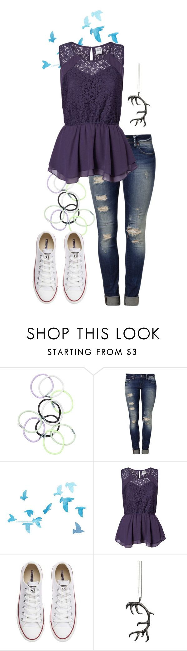 """""""Believe in yourself a little more"""" by bethanunny ❤ liked on Polyvore featuring Monki, Mavi, Vero Moda, Converse and Justine Brooks"""