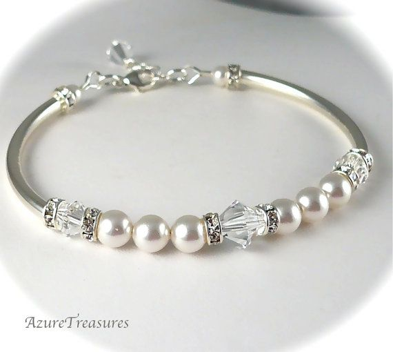 Bridal Bracelet, Crystal, Pearl and Rhinestone Bangle Bracelet Ivory or White Sterling Silver Bridesmaids Gifts, Wedding Jewelry