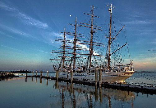 Alex Lyubar Fine Art Photography. Photograph - Sailing ship at the pier by Alex Lyubar  #AlexLyubarFineArtPhotography #BlueSky #JapaneseSailingShip #ArtForHome #FineArtPrints