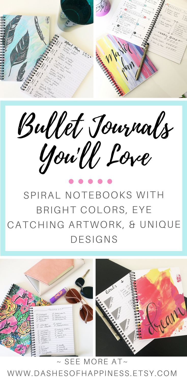 Looking for the perfect bullet journal? Find an assortment of spiral notebooks with bright colors, eye catching artwork and unique cover design. Your to do list is looking better already!