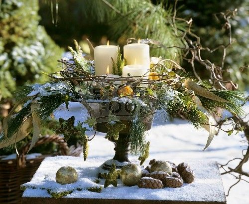 Thinking about something like this for my dining room table...Winter table decor | Holiday fun ...