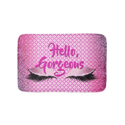 Quatrefoil Hello Gorgeous Makeup Girly Pink Bath Mat - pattern sample design template diy cyo customize