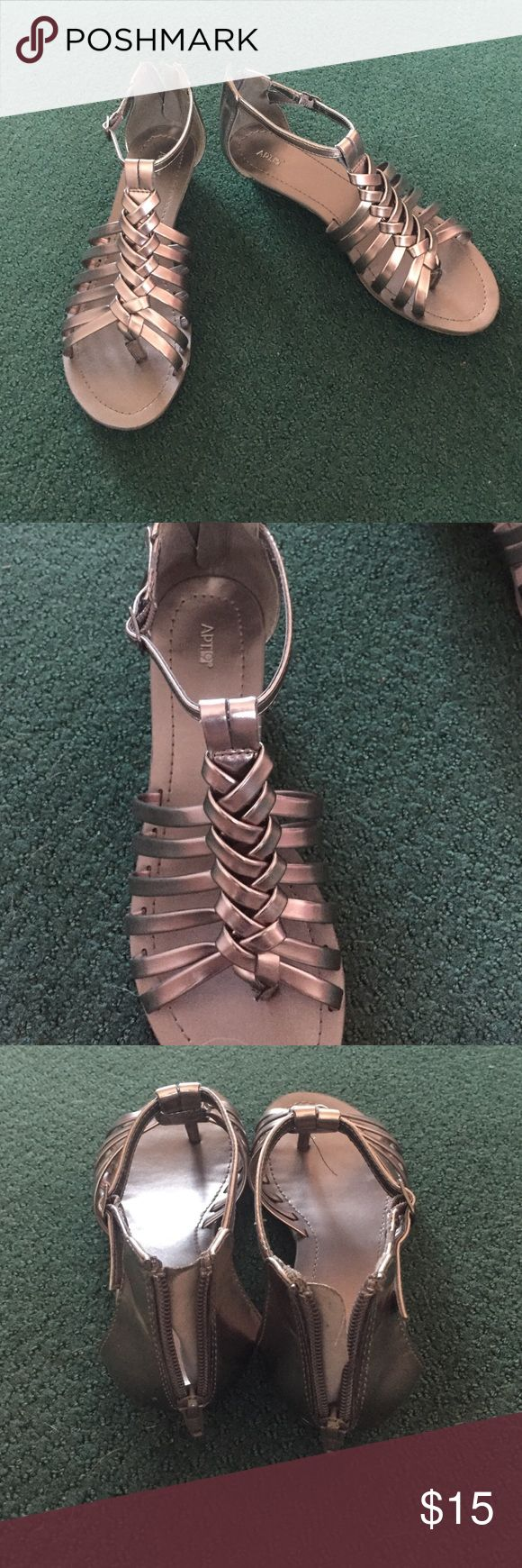 Pewter Sandals Barely worn pewter sandals Apt. 9 Shoes Sandals