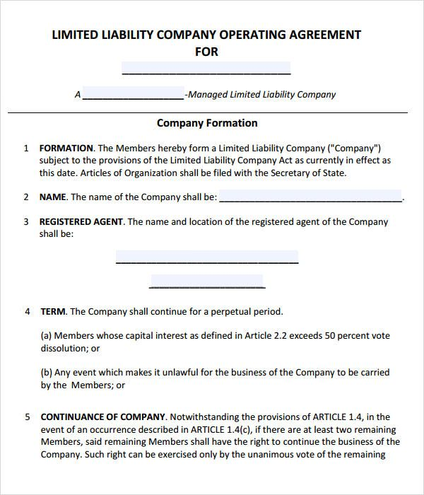 Operating Agreement Template Limited Liability Company Agreement Free Brochure Template