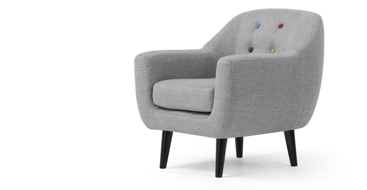 Mini Ritchie Armchair, Pearl Grey with Rainbow Buttons | made.com