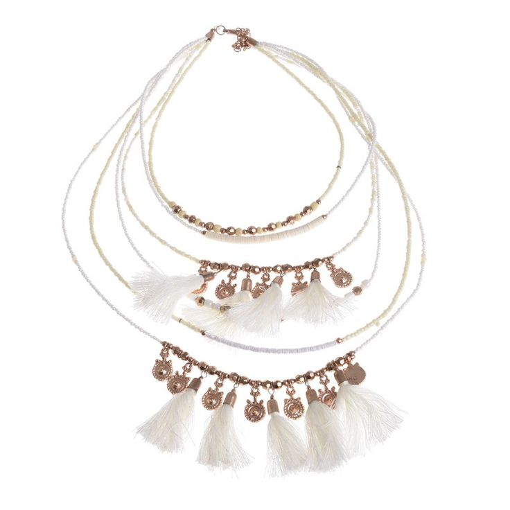 WHITE NECKLACE WITH TASSELS - Jewelery