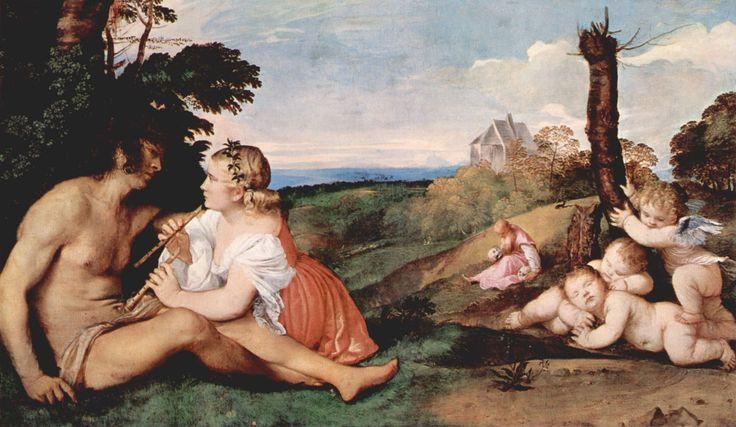 LAS TRES EDADES DEL HOMBRE En sus primeros trabajos Tiziano trata con asiduidad el tema del amor y la música como observamos en el Concierto, el Concierto campestre o en este lienzo que contemplamos. Con estas obras continúa la línea abierta por Giorgione en relación con sus reflexiones sobre el amor y la belleza.Las tres edades de la vida estarían representadas, en este caso, por diversas figuras que se integran a la perfección en un paisaje. Así, en primer plano, observamos a una joven con…