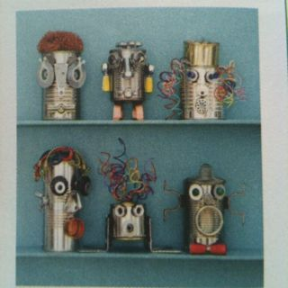 Robots made out of cans-good earth day project