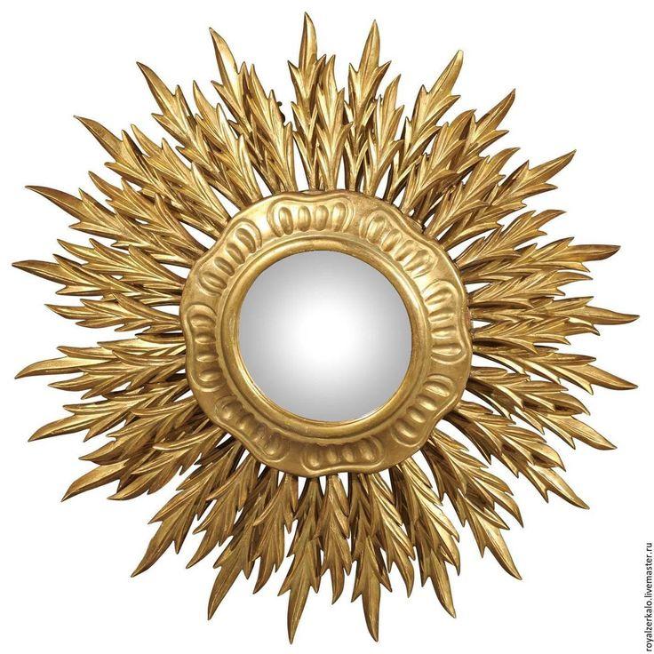 Купить Настенное зеркало солнце Сириус - золотой, зеркало солнце, зеркало настенное