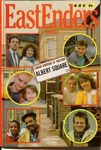 "Eastenders Annual 1987. Remember all of those characters? Tony Carpenter (Oscar James), his son Kelvin (Paul J. Medford), Mary Smith the punk (Linda Davidson) and baby Annie, ""Dirty"" Den Watts (Leslie Grantham), Angie Watts (Anita Dobson), Simon ""Wicksy"" Wicks (Nick Berry), Sharon Watts (Letitia Dean), Michelle Fowler (Susan Tully), George ""Lofty"" Holloway (Tom Watt)."