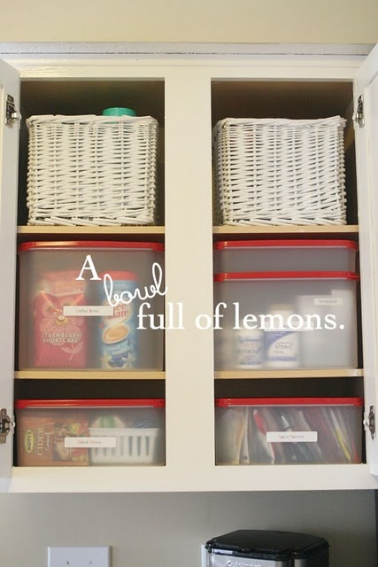 Use baskets for the top shelf to make it easier to access things that are stored there.: Kitchen Organization, Bowls Full, Challenges, Organizations Ideas, Kitchens Ideas, Kitchens Cupboards, Cabinets Organizations, Kitchens Cabinets, Kitchens Organizations