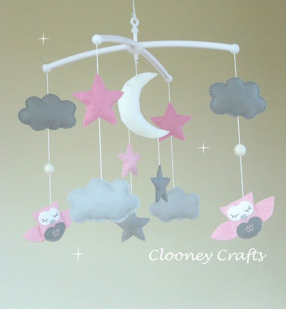 Owl Baby Mobile Musical Baby Mobile Cot Arm Pink Baby