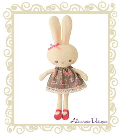 Alimrose Designs Betty Bunny Grey This sweet bunny rattle with pink shoes and a bow in her ear! Approx 16cm.  $24.95