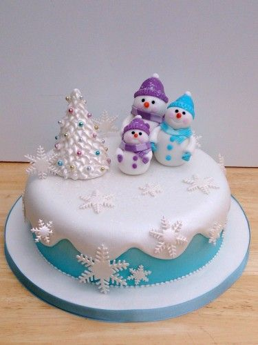 snowman family novelty christmas cake