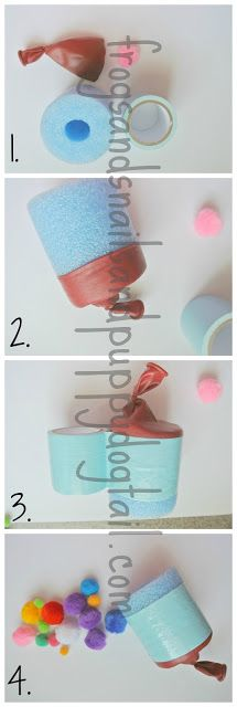 easy DIY Pool Noodle Pom Pom Shooter  cut up pool noodle, duct tape, balloon, scissors, and pom poms