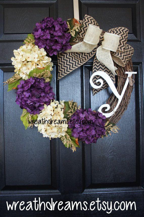 Purple Hydrangea Monogram Grapevine Wreath w/ by WreathDreams