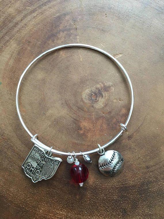 Reds Baseball Jewelry Cincinnati Bangle State of Ohio