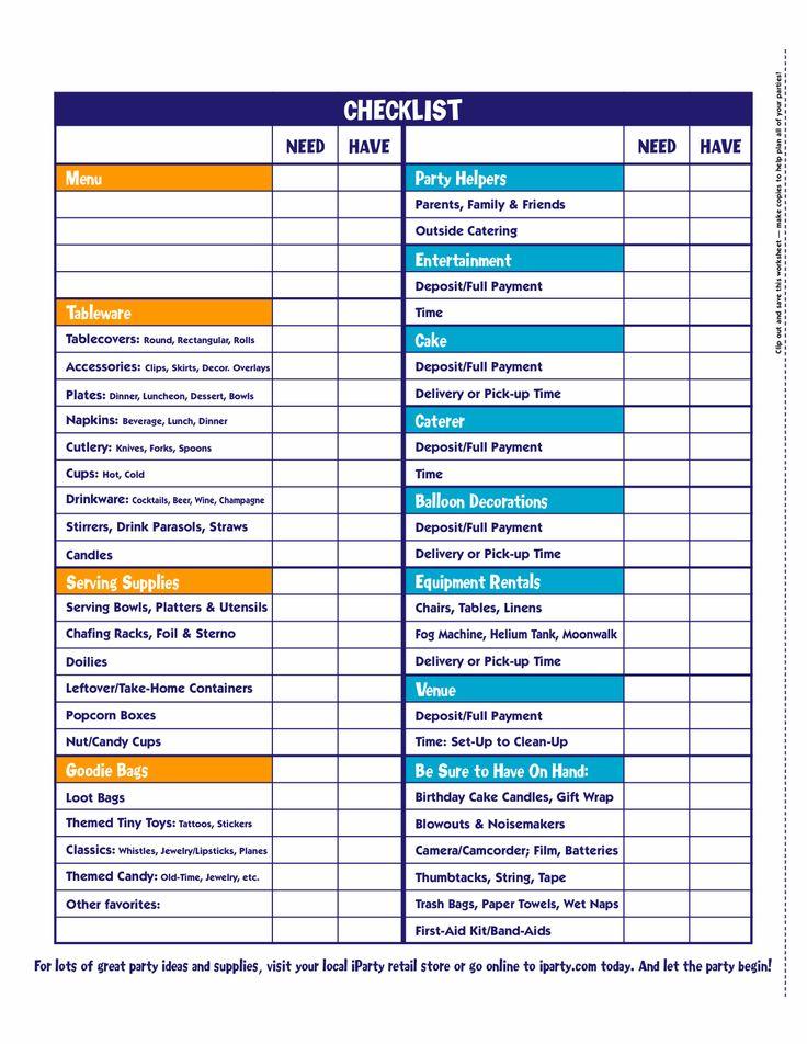 Party checklist Novel Ideas... Pinterest