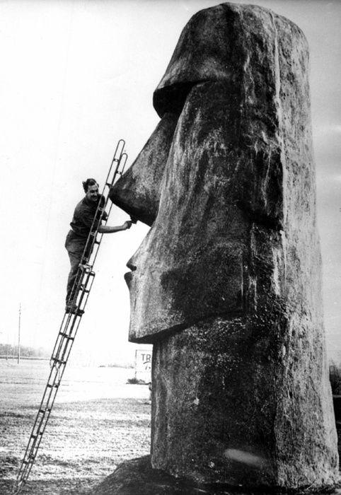 """Nose maintenance at Easter Island. Dedicado al señor @Ube y su serie """" cosas para hacer en domingo """""""