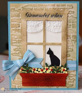 Cat in a window handmade card created by Vicki Robertson for the Crop Stop Challenge blog. I like the visuals on this card and the dry embossed brick wall.
