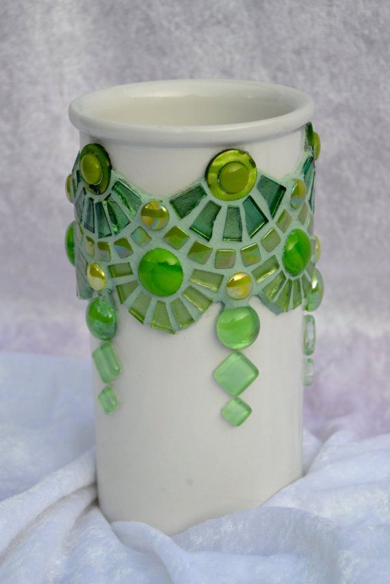 Green glass and ceramic mosaic vase by mimosaico on Etsy