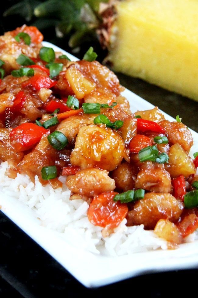 Sweet and Sour Chicken, Pineapple, Carrots, and Bell Peppers