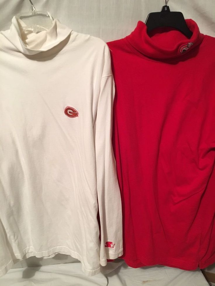 Lot 2 Georgia bulldogs football  Red White Turtleneck Mens Starter Shirts Sz L  | eBay