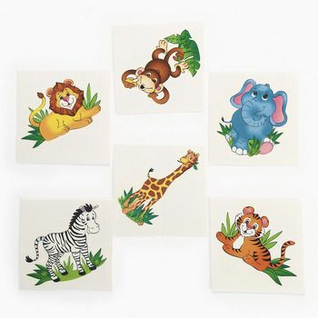Zoo Animal Tattoos (35) :  Perfect fun tattoos just the thing for a boy or girl's zoo, safari or jungle themed birthday party. Add them to treat bags for your friends! Easy to apply and remove. Non-toxic.