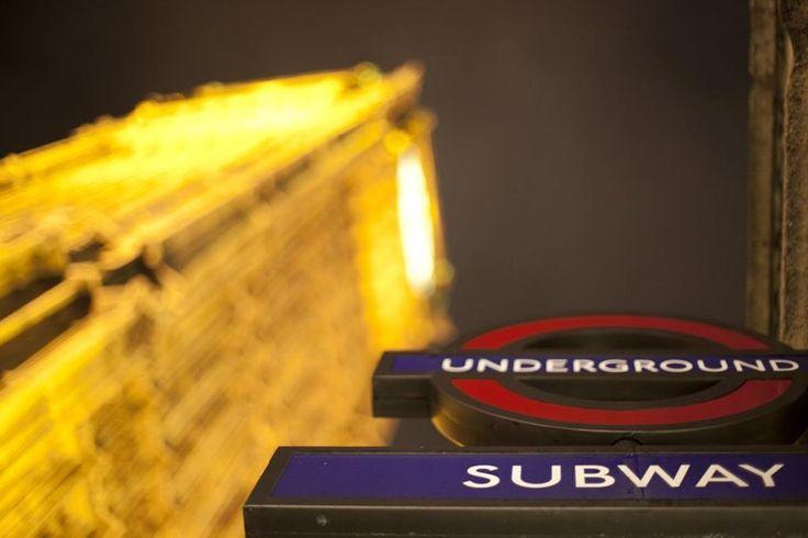 London Underground Light Clock Tower Night