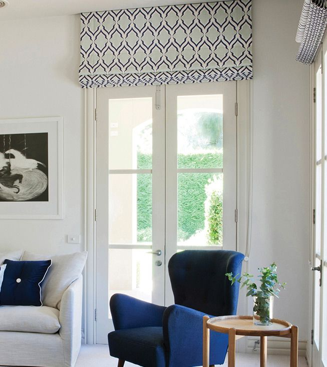 Roman Blinds All the way to ceiling, love the geometric design. BQ Design Melbourne
