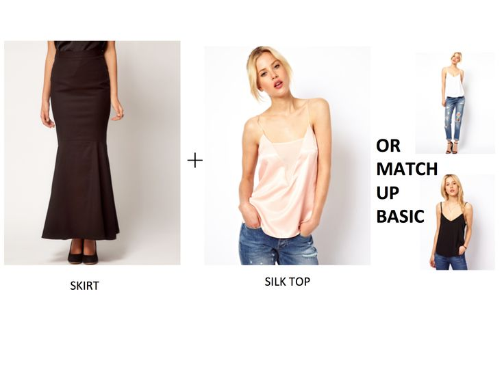 Black Elegent Pencil Maxi Skirt+Cami With Plunge Mesh Panel And Skinny Straps
