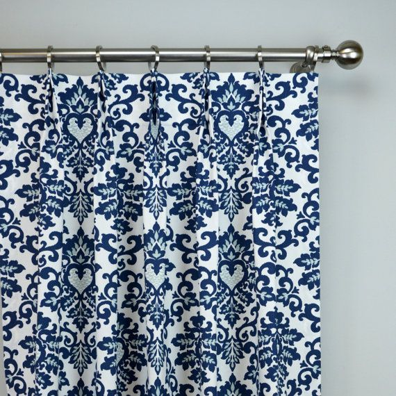 Navy Blue White Cecelia Damask Modern Floral Curtains   Pinch Pleat   84 96  108 120 Long   Optional Blackout Or Cotton Lining