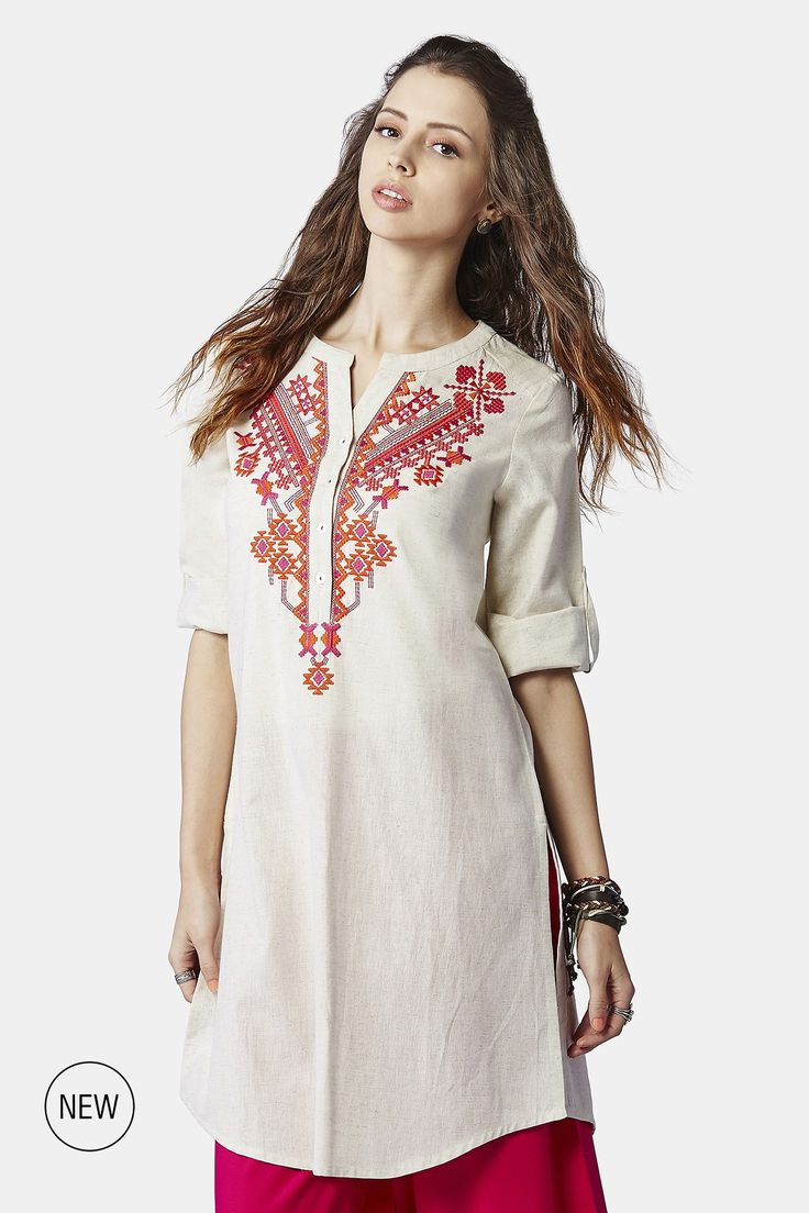 Featuring a classic, embroidered tunic with roll up sleeves, button tab and a curved hemline.INR 1,899.00