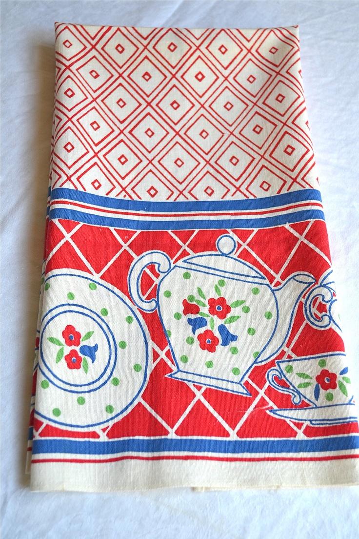 Vintage Kitchen Dish Towel   Red And Blue Teapot Print   Cotton Linen