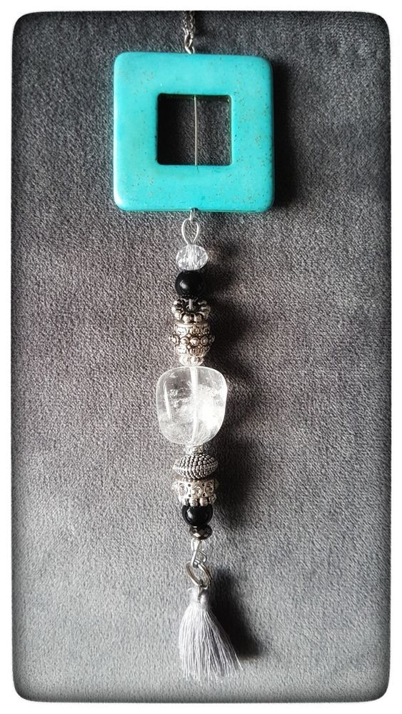 """4way CUSTOMIZEABLE Turquoise and Crystal Quartz Necklace Tassel Chic Chain 27"""" #Handmade #Chain"""