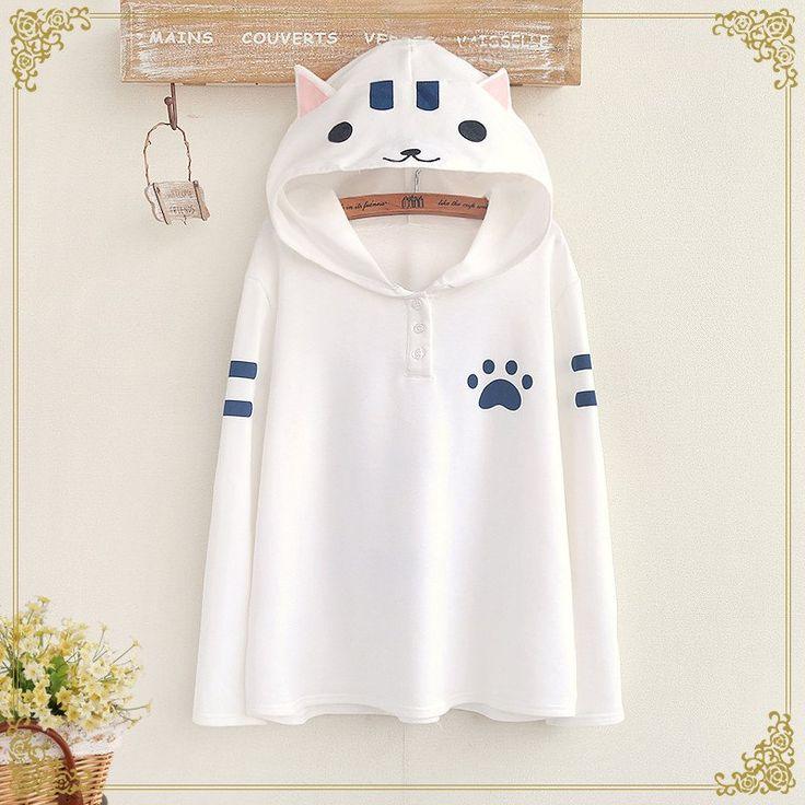 Students Cat Hooded Fleece Pullover Se