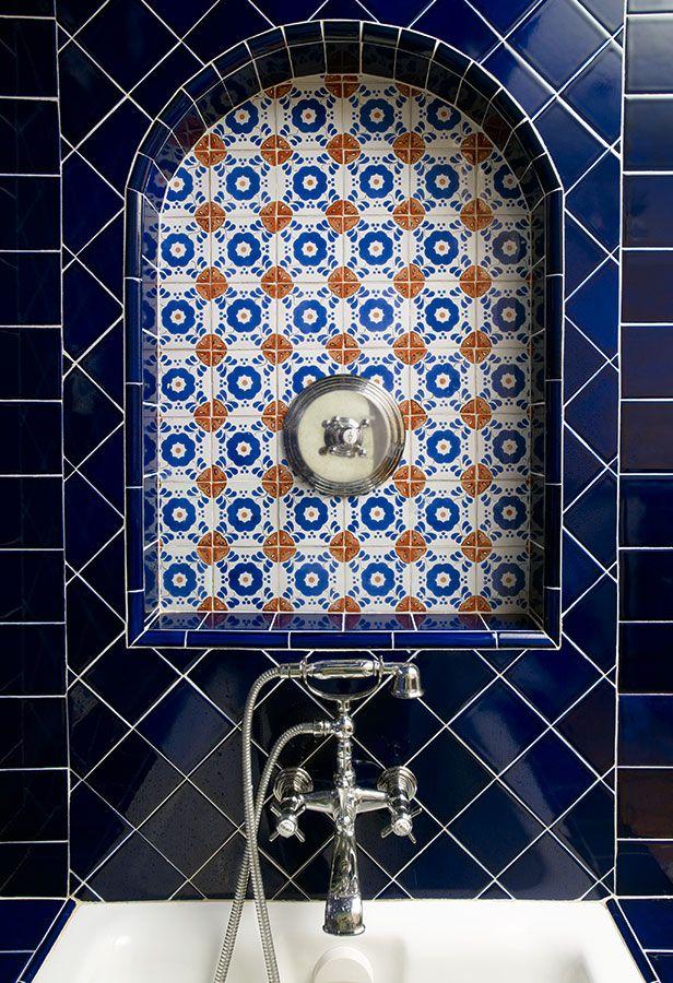 Detailed Tile work, Cobalt Blue Tile &   Mexican Talavera Tile  Bathroom Design
