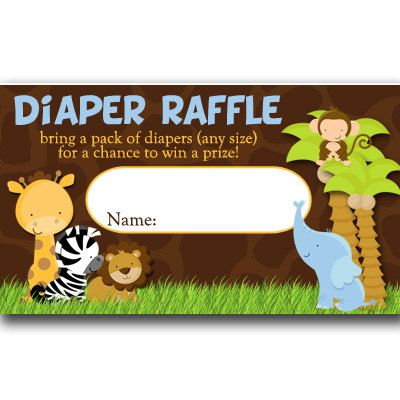 Safari Diaper Raffle Tickets Baby Shower INSTANT by PartiesR4Fun