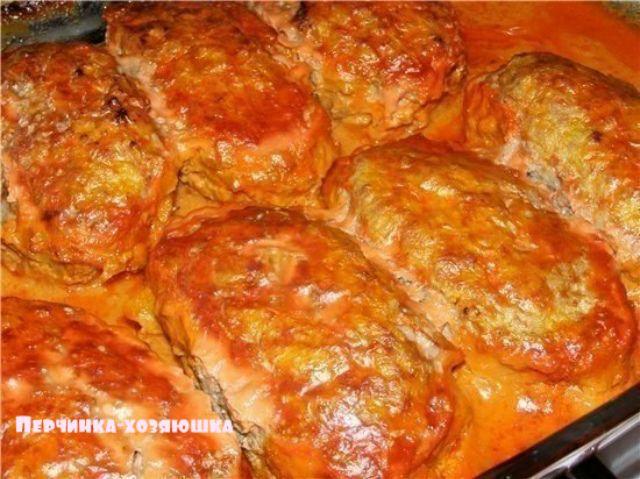 Очень вкусные ленивые голубцы - Перчинка-хозяюшка. Hamburgers with cabbage and rice, wrapped in cabbage leafs.