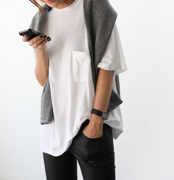 Grey sweater + white t + black pants