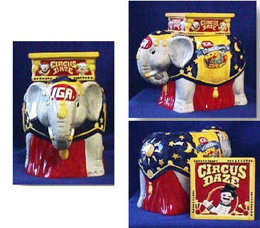 IGA Elephant - 1998.The IGA Circus Daze Train jars are one of my favorites in my advertising collection. They are bright colorful and fit the store's promotion perfectly.