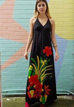 Black full length 70s maxi party dress with red floral print